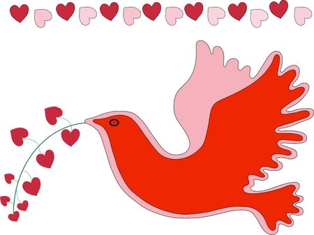 Dove and Hearts Illustration in reds and isolated on a white background.