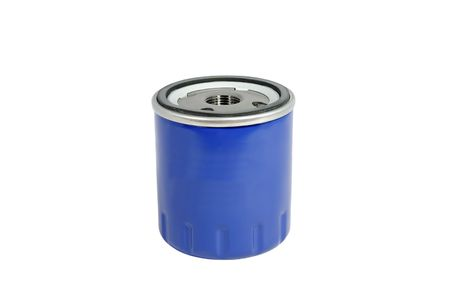 The automobile fuel filter located on the isolated white background