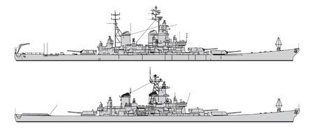Illustration pour US battleship. Collection of warships vector silhouettes - image libre de droit