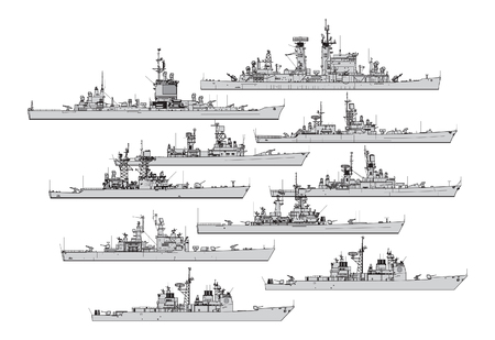 Illustration pour US cruisers. Collection of warships vector silhouettes - image libre de droit