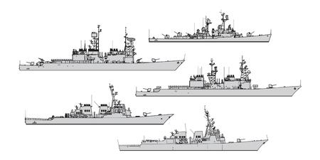 Illustration pour US destroyers. Collection of warships vector silhouettes - image libre de droit