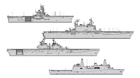 Illustration pour US landing ships. Collection of warships vector silhouettes - image libre de droit
