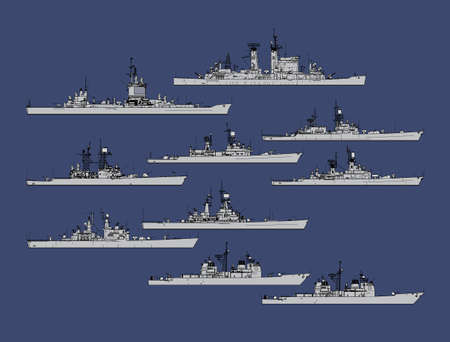 Illustration pour Set of silhouettes of us navy guided missile cruisers. - image libre de droit
