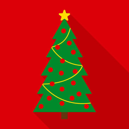 Christmas Tree in Flat Style with Long Shadows on Red Background