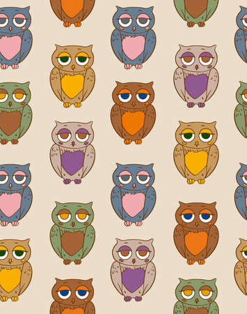 Seamless Vector Pattern with Multicilored Owls on a Beige Background