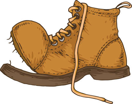 Illustration for Old Torn Brown Boot Isolated on White Background - Royalty Free Image