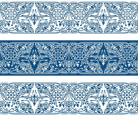 Illustration for Winter Floral Borders Collection. Three Seamless Classic Blue Vector Band - Royalty Free Image