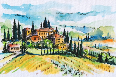 Landscape with town and cypress trees in Tuscany Italy Picture created with watercolors