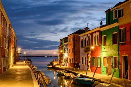 Colorful houses in Burano at dusk, Venetian Lagoon,Italy.