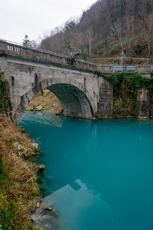 Turquise water in Soca river in Most Na Soci town,Slovenia.