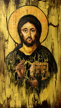 Hand painted picture of Jesus Christ Pantocrator styled on the old orthodox icon.