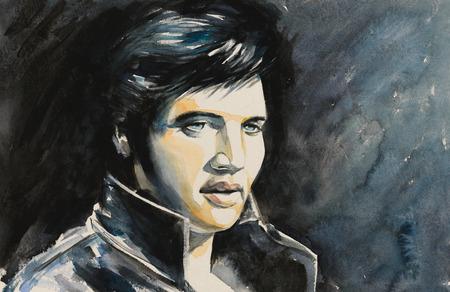 Foto de Watercolors portrait of rock and roll singer   . - Imagen libre de derechos