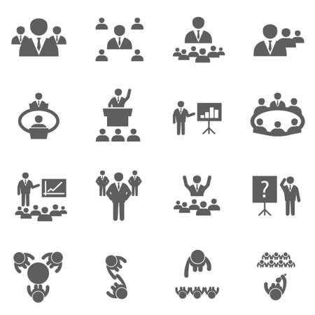 Vektor für Meet icons set business people on conference office training and seminar - Lizenzfreies Bild