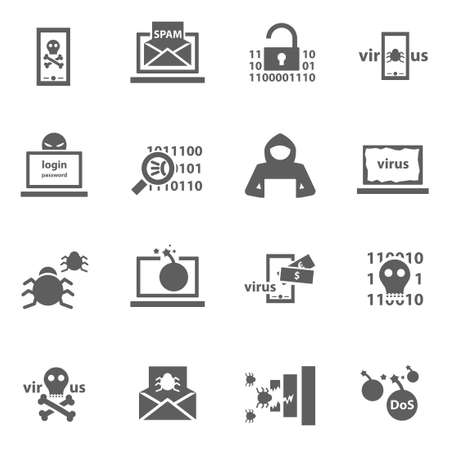 Set of cyber virus digital protection hacker attack icons