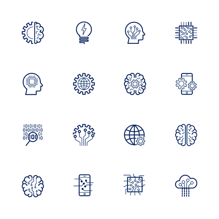 Illustration pour Artificial Intelligence Related Vector: Icon AI, robot, chipping, setting Editable Stroke - image libre de droit