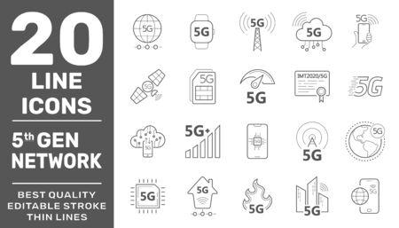 Illustration pour 5G internet line icons set. Internet mobile safety wireless 5g signal telecommunication new technology vector symbols. Editable Stroke. EPS 10 - image libre de droit