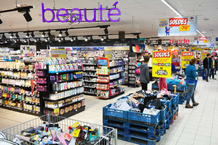MALMEDY, BELGIUM - JULY 2015: Interior, cosmetics and health care products in the Beauty section of a Carrefour Hypermarket, a French multinational retailer, and large hypermarket chain.