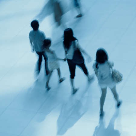 abstract business people rushing in the lobby blur motionの写真素材