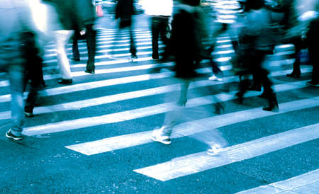 Photo for busy city people crowd on zebra crossing street - Royalty Free Image