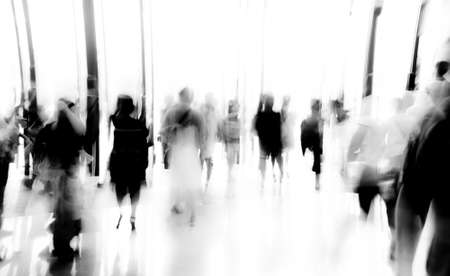business people activity standing and walking in the lobby motion blurred abstract backgorund