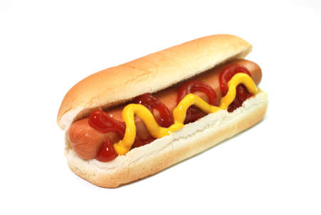 Hot dog with ketchup and mustard isolated on white background.