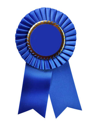 Blue ribbon award blank with copy space.