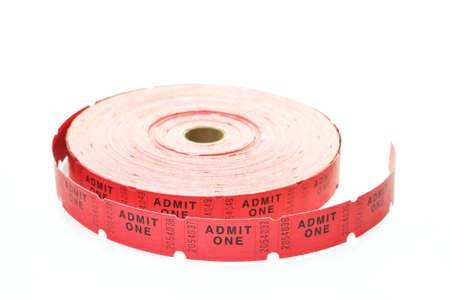 Roll of tickets isolated on white background.
