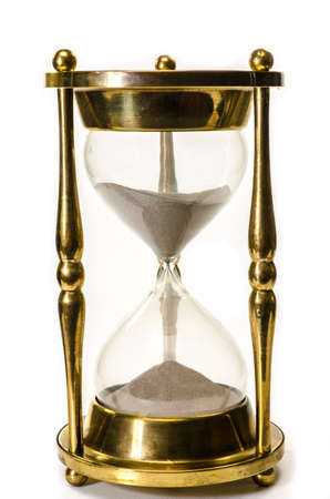 Photo pour Gold hourglass isolated on white background  - image libre de droit