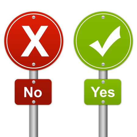 Yes or No Glossy Road Sign Style Isolated on White Background