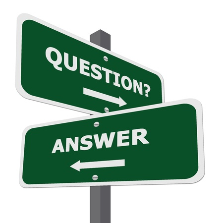 Photo pour Green Question and Answer Street Sign Isolate on White Background  - image libre de droit