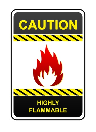 Highly Flammable Caution Sign Isolated on White Background