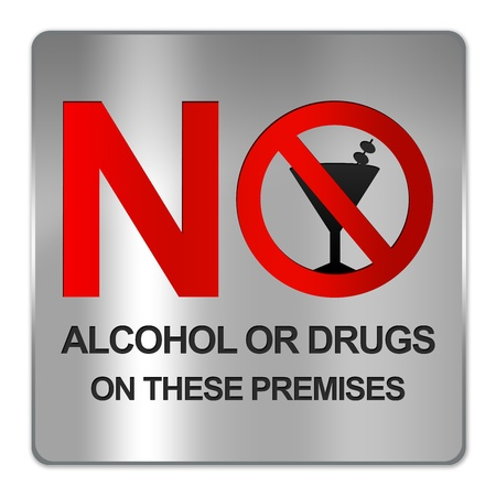 Square Silver Metallic Plate For No Alcohol Or Drug On These Premises Sign Isolate on White Background