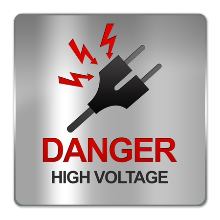 Square Silver Metallic Plate For Danger High Voltage Sign With Plug and Voltage Sign Isolate on White Background