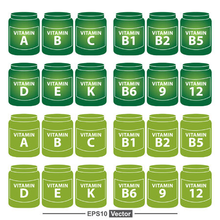 Illustration pour Vector : Healthcare and Medical Concept Present By Group Of Green Vitamin Container or Box With Vitamin A, B, C, D, E, K, B1, B2, B5, B6, B9 and B12 Inside Isolated on White Background - image libre de droit