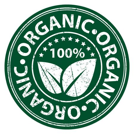 Product Information Material or Ingredient, Circle Green 100 Percent Organic Sticker, Rubber Stamp, Icon, Tag or Label Isolated on White Background