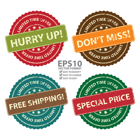 Vector : Promotional or Marketing Material, Sticker, Rubber Stamp, Icon or Label for Limited Time Offer Hurry Up, Don\'t Miss, Free Shipping and Special Price Event Isolated on White Background