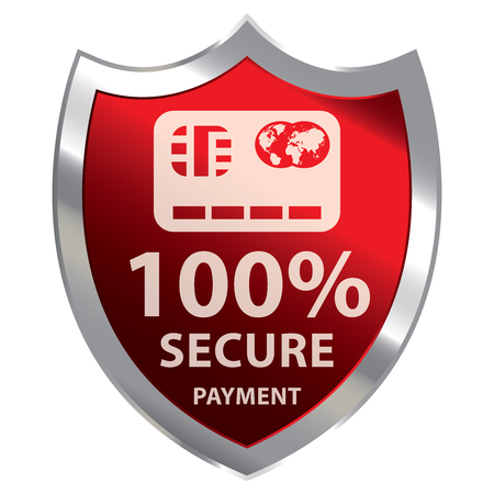 Red Metallic Shield With 100 Percent Secure Payment Sign Isolated on White Background