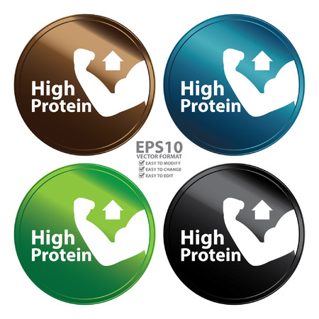 Vektor für Vector : Colorful Metallic Style High Protein Icon Badge Label or Sticker for Healthy Medical and Healthcare Weight Loss Diet Fitness Product or Product Information Concept Isolated on White - Lizenzfreies Bild
