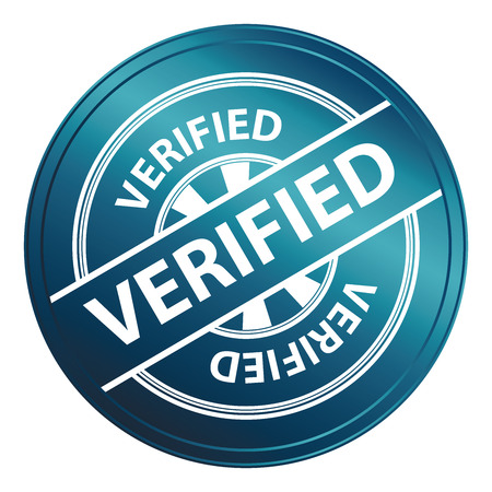 Blue Metallic Style Verified Icon, Badge, Label or Sticker for Quality Management Systems, Quality Assurance and Quality Control Concept Isolated on White Background