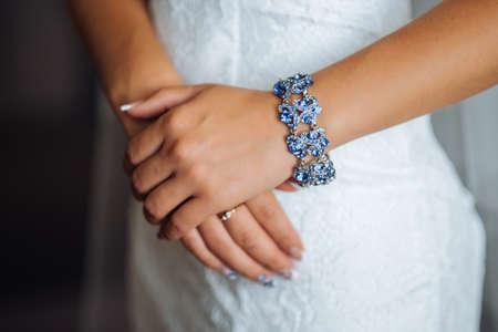 Photo pour On hand necklace, bracelet with nice stones - image libre de droit