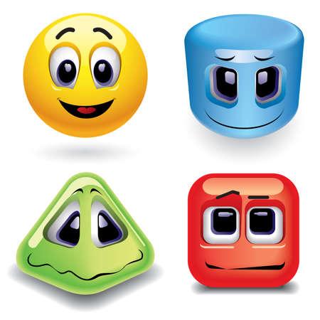 Photo pour Smiling balls as different geometric shapes - image libre de droit