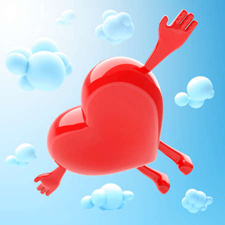 Heart mascot flying in the sky