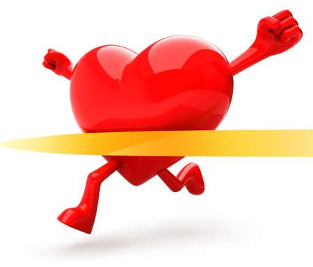 Photo pour Heart shaped mascot running - image libre de droit