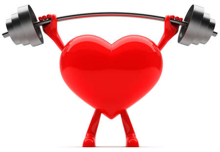 Heart shaped mascot lifting weight