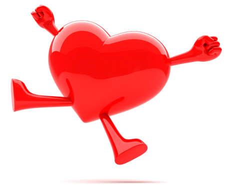 Heart shaped mascot jumping for joy