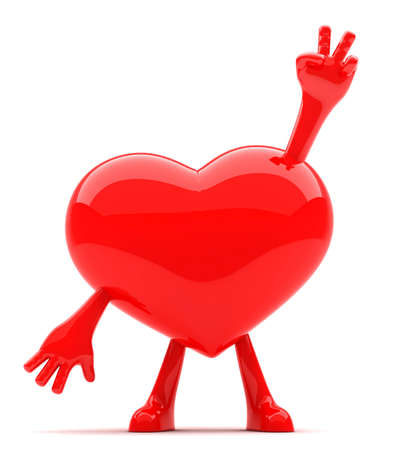 Heart shaped mascot showing victory sign with its hands