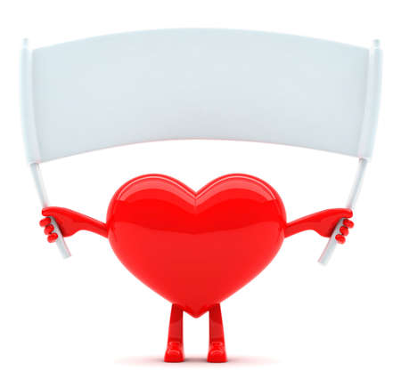 Heart shaped mascot with blank placard for message