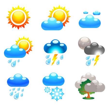 Illustration pour Symbols which represent weather conditions - image libre de droit