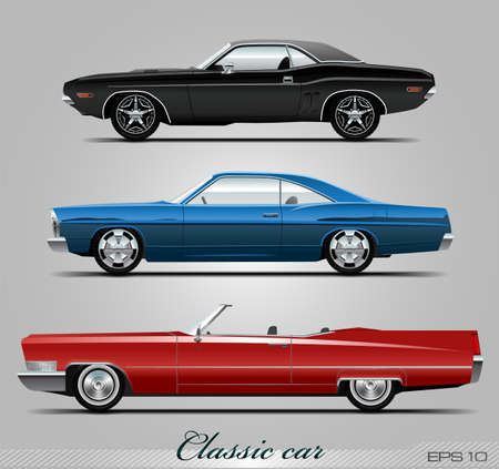 Classic car collection, vector eps 10