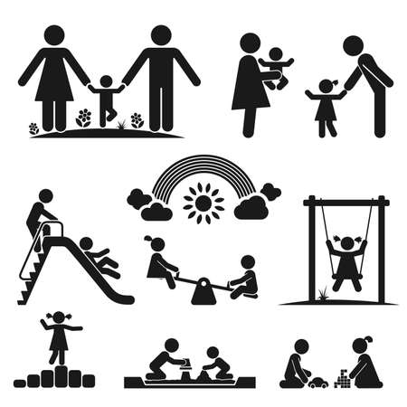 Illustration pour Children play on playground  Pictogram icon set - image libre de droit
